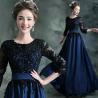 Buy cheap Black O Neck Three Quarter Sleeves Elegant Evening Dresses TSJY013 from wholesalers