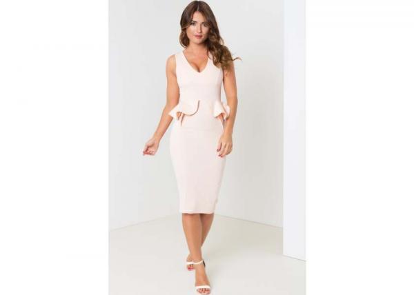 Quality Peachy Peplum Ladies Summer Midi Dress With Plunge Neckline for sale
