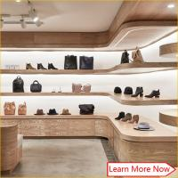 China Customized wooden veneer furniture for shoe store,shoes shop interior design on sale