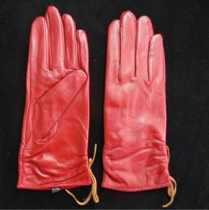 China Leather Womens Waterproof Gloves , Sheepskin Womens Leather Dress Gloves wholesale