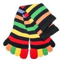 China Soft breathable striped womens five toes socks with Spandex / Polyester material wholesale