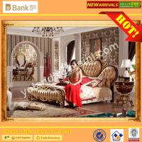 China (BK0109-0003)BISINI Brand New Gold Wooden Bed , Royal and Luxury Bedroom Furniture Set, King Size Bed with Nightstand wholesale