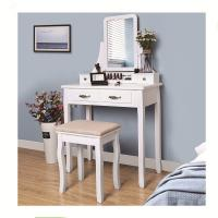 China White Bedroom Mirrored Dresser Wooden Dressing Table with Mirror and Stool on sale