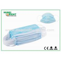 China Blue Medical 3 Ply Face Mask / Disposable Earloop Face Mask For Hygienic Application wholesale