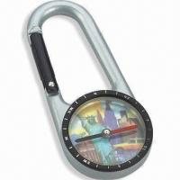 China Compass with Carabiner, Fit for Travel, Available in Size of 6.9 x 3.0 x 0.8cm wholesale