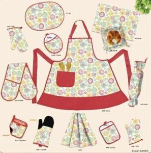 China Heat resistant 8 piece Home Kitchen Textiles Set Oven mitt / Apron / Bar towel wholesale