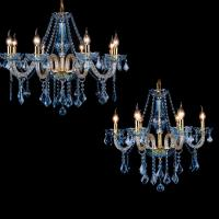 China Blue Color Crystal Chandelier With Gold Metal (WH-CY-63) on sale