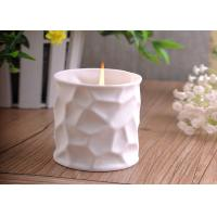 China White Tealight Ceramic Candle Holder Embossment 290ml Large Capacity wholesale