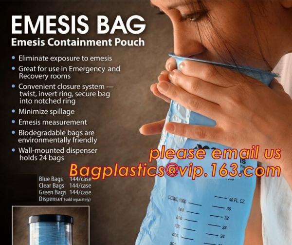 Quality disposable portable medical emesis bags,Disposal waterproof airsickness plastic vomit emesis bag,Pack of 50 Emesis Bag, for sale