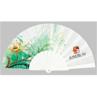 China Custom Folding Hand Fans with plastic ribs and full color printed fabric ,  size 23cm wholesale