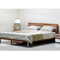 China Simple Style Bedroom Suite Furniture King Size Bed With Melamine Metal Feets wholesale