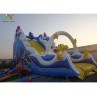 China PVC Tarpaulin Blue Color Inflatable Bouncer Kids Favorite Slide Playground Theme Park For Rental wholesale