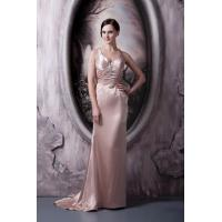 China Simple Strap V Neckline Mermaid Evening Prom Dress Long Party Gowns With Beads on sale