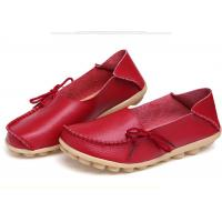 China Womens Casual Leather Shoes Moc Toe Stylish With Soft Flat Outsole Women Footwear wholesale