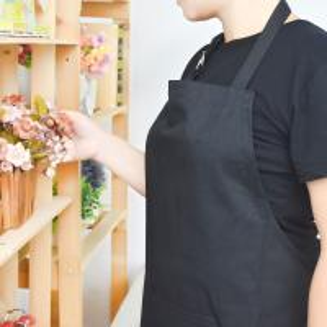 Buy cheap Tablier noir adulte de mélange de coton avec les tabliers réglables de cuisine de courroie de cou from wholesalers