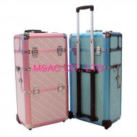 China Custom Zebra Trolley Makeup Case / Aluminum Carrying Cases With Strap For Makeup wholesale