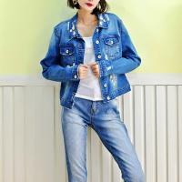China Fancy Embroidery Jeans Coat For Women , Stretch Ladies Blue Denim Jacket wholesale