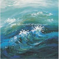 China Contemporary Abstract Handmade Art Painting Sea Wave, Strectched Canvas Wall Art wholesale