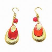 China Fashionable Jewelry Earrings, Made of Opal, Shell and Gilded Iron Flake, OEM Orders are Welcome wholesale