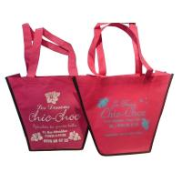 China 75g Pink Trapezium Nonwoven Fabric Carrier Bags With Customized Logo For Girls wholesale