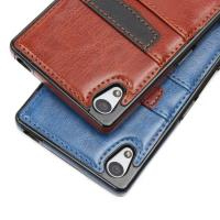 China Brown Classic Sony Xperia Leather Case Slim Card Holder With Wallet Function wholesale