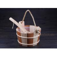 China Bottomless Sauna Bucket And Ladle Set Including Plastic Liner For Dry Sauna Accessories wholesale