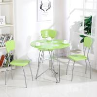 China Modern Glass Top Dining Room Table , Colorful Glass Top Dining Table And Chairs wholesale