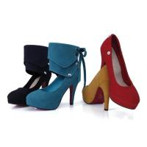 Buy cheap pure color nubuck detachable vervel pump PU lady shoes wholesales from wholesalers