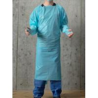 China Blue 30-100g Disposable PPE Gown , CPE Surgical Gown , surgical Gown with thumb loop cuff wholesale