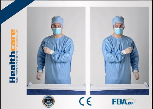 Quality Blue Disposable Surgical Gowns Sterile Reinforced Knitted Wrists Gowns ISO CE FDA Approved for sale