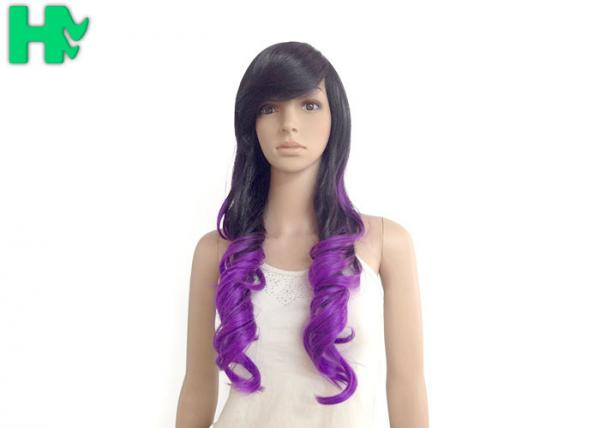 Quality Loose Curly Synthetic Hair Wigs Lace Cap , High Temperature Fiber Wig for sale