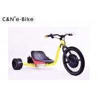 China 1500w Motor Electric Three Wheel Drift Trike Yellow Color 100mm Front Hub Width wholesale