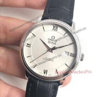 China Omega White Dial Watch Black Leather Band Watch on sale