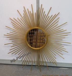 China Mordern Wrought Iron Mirror Wall Decor, Wall Mount Metal Mirror Wall Art wholesale