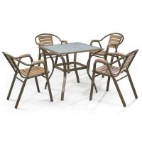 China LJC010-ps modern outdoor Aluminium stackable polywood garden furniture set wholesale