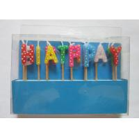 Multi Colour Happy Birthday Toothpick Letter Cake Candles Stick Shape With Polka Dots