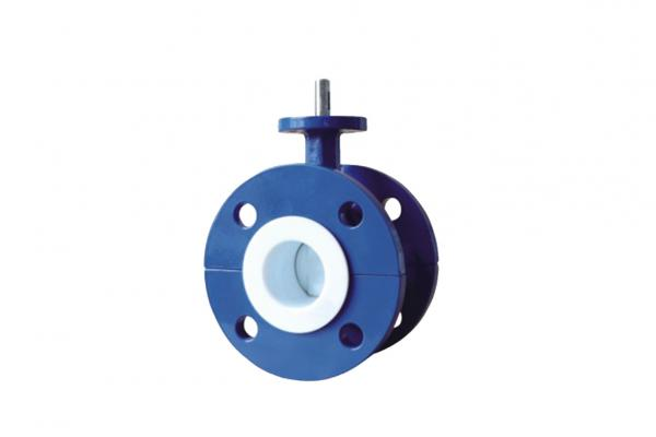 Quality Blue Flanged PTFE Lined Butterfly Valve , Worm Gear Operated Butterfly Valve for sale