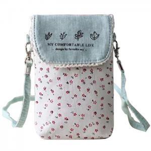China Custom Cute fresh floral cotton mini crossbody cell phone purse bag for women wholesale