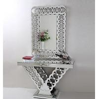 China New Design Living Room Furniture Mirrored Console Table Rectangle Hallway Table With Wall Mirror on sale