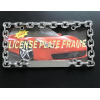 China Chain Style Vehicle License Plate Frames / Auto Plate Frames With Chrome Metal Finish wholesale