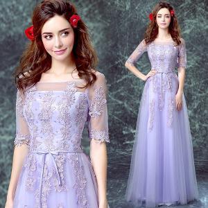 China Lavender Boat Neck Short Sleeves TuTu Elegant Evening Dresses TSJY073 wholesale