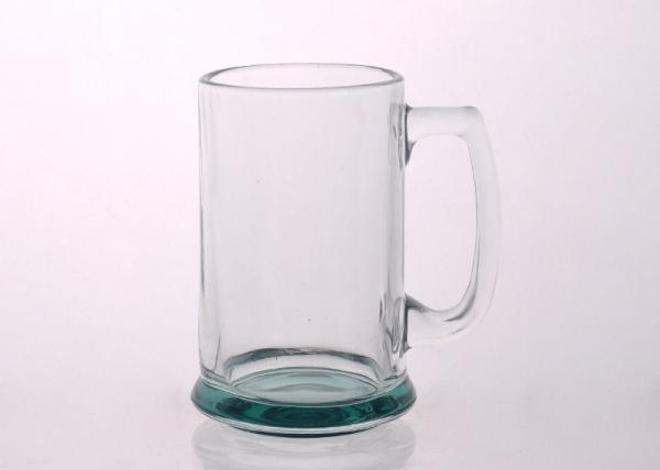 Quality 14oz promotion large glass beer mug , Glass Tableware colored bottom for sale
