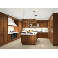 China Black Color Solid Wood Kitchen Cabinets With Blum Full Extension Soft Closing For Villa wholesale