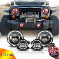 Quality 7inch LED Headlights + 4inch LED Fog Light Combo with RGB Halos for 1997-2017 for sale