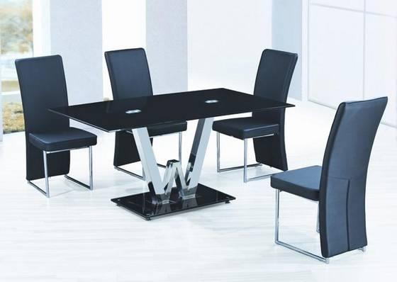 glass top round stainless steel dining table