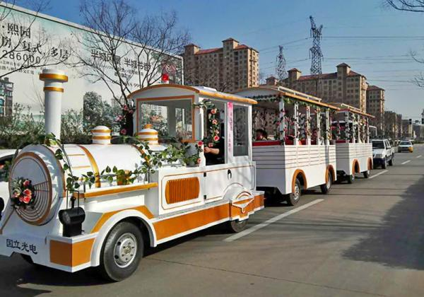 Quality Outdoor Electric Trains Sightseeing Tourist Road Train 4m×1.65m×2.5m Train Head Size for sale