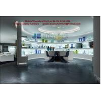 China Glass art exhibition sales store center by white stand and wall cabinet in LED light glossy wholesale
