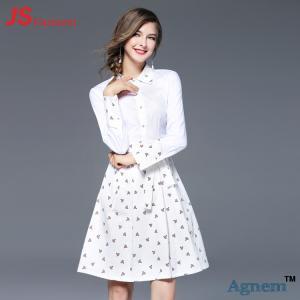 China JS 37 New Design Custom Long Sleeve Casual Elegant White Lady Floral Dress wholesale