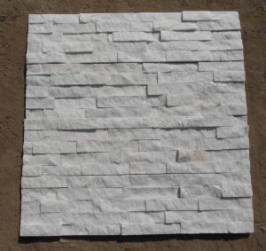 China Natrual white quartz quartzite veneer cladding panel cultured stone stacked stone ledge stone glued wall panel flageston on sale