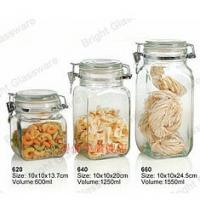 China empty food storage glass airtight jar with glass lid and metal cilp wholesale
